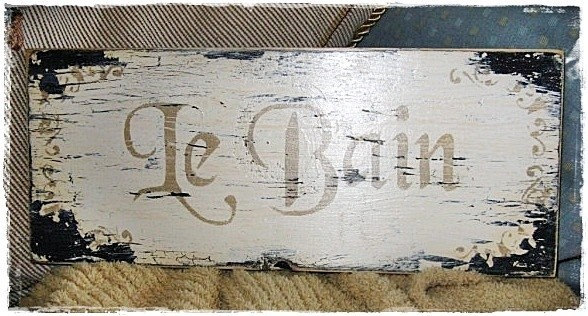Vintage French Bathroom Sign Le Bain French Country Paris