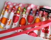 Mini Me Owls in Pink Crayon Roll Organizer-8 Crayola Crayons Included-Great Gift Party Favor or Stocking Stuffer