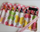 Butterfly Crayon Roll Organizer-Great Gift or Christmas Stocking Stuffer-8 Crayola Crayons Included-Ready to Ship
