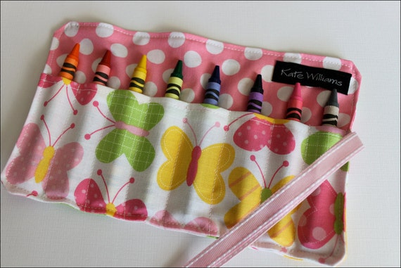 Butterfly Crayon Roll Organizer-Great Gift Girl Birthday Gift-Girl Party Favor-Back to School-Kid Travel Art-8 Crayola Crayons Included