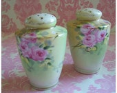 Vintage Hand Painted Rose Shaker Set
