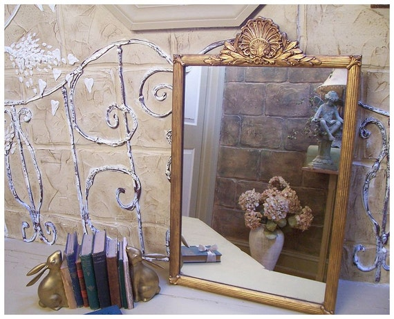 Large Vintage Ornate Mirror Shell Motif
