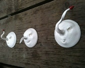 Three Little Weirdos. US shipping included. Trio of Wall mounted face sculptures.