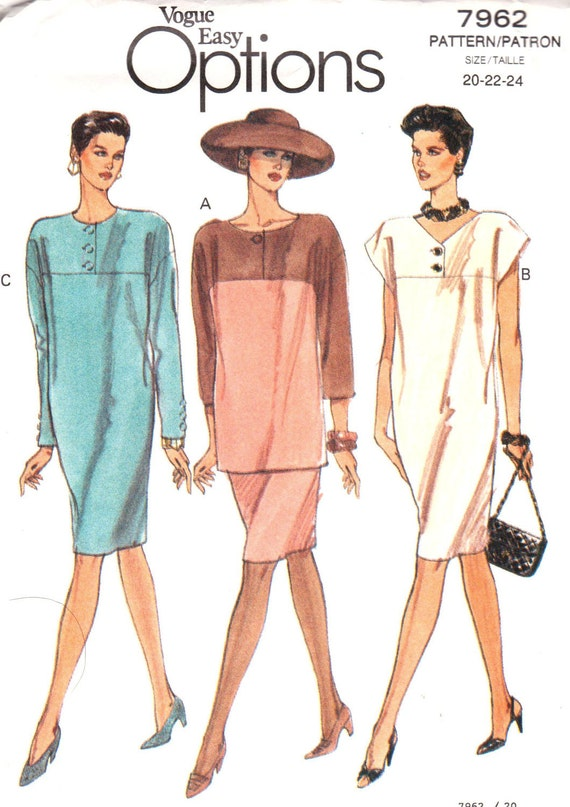 Very Easy Misses Half-Size Dress, Tunic and Skirt Size 20-24 Vogue 7962 UNCUT Sewing Pattern 1990s