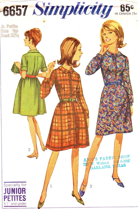 Vintage 1966 Junior Petites One-Piece Dress with Two Skirts Size 9 Simplicity 6657 UNCUT Sewing Pattern