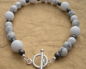 Winter Sky White Howlite, Jade, and Hematite Bracelet