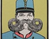 Original linocut: Beards of the World