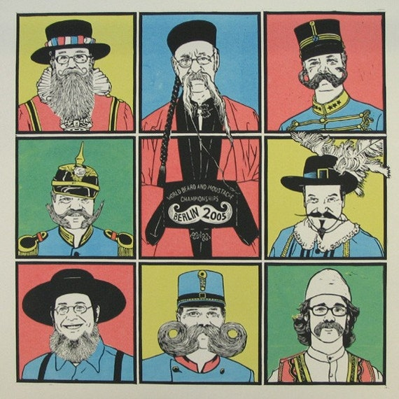 Beards of the World - Linocut and screenprint