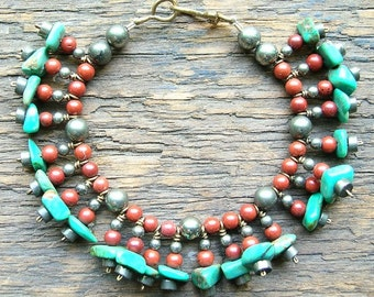 Turquoise, Red Jasper and Iron Pyrite Stone Caterpillar Bracelet with Bronze Clasp