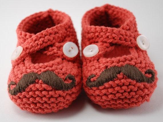Mr. Mustache Red Baby Booties