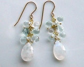 Aquamarine Moonstone Earrings in Gold