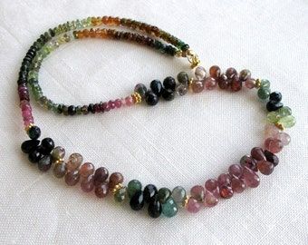 Watermelon Tourmaline Cluster Necklace