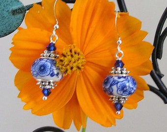 White and Blue Bead Earrings