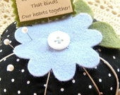 Emery Pincushion / Pin cushion - large  Polka dot and flowers emery pincushion for sharp pins and needles