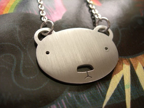 Small Serious Face Bear Necklace by Squirrelbunny