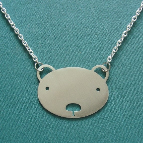 Large Friendly Face Bear Necklace by Squirrelbunny