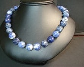 Hand Knotted Sodalite Necklace  with Sterling Silver Clasp