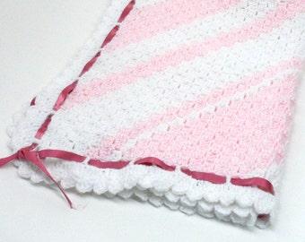 Car Seat Blanket Crochet Baby Afghan Diagonal Stripes