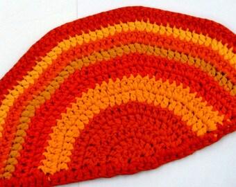 Half Circle Rug, Bath Mat, Crochet Area Rug, Doormat, T Shirt Yarn