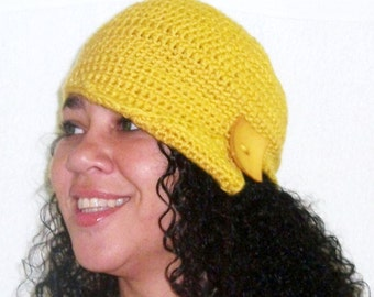 Yellow Cloche, Crochet Cloche Hat, Flapper Hat, Asymmetrical Brim Hat, Mustard Cap