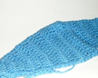 Messy Bun Hair Wrap, Crochet Headband, Blue Headband, Wide Headband, Blue Ear Warmers, Workout Headband