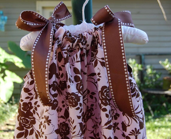 Pink and brown roses pillowcase dress
