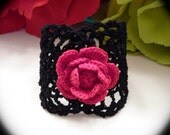 Lacey Lady with Rose - Crochet Lace Cuff