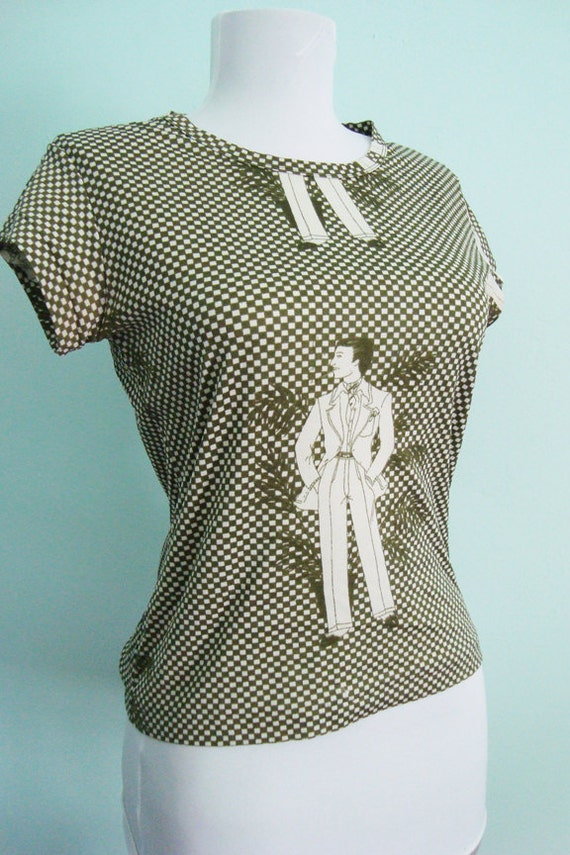 Vintage 70s Mobster Print Blouse - Dutch Wax African Pattern Style