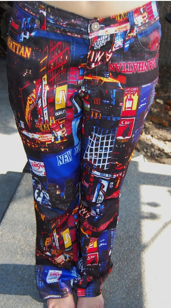 Vintage 90s Vibrant Pants - Print New York Graphic Printed - neon lights city