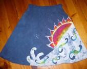 batik ocean sunrise a line skirt