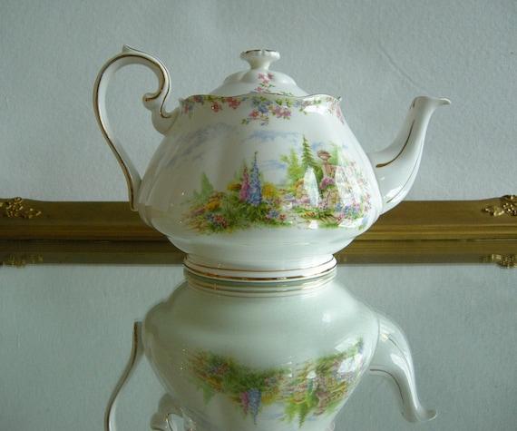Royal Albert Kentish Rockery Teapot Vintage 20s 30s Bone China Rare Pattern