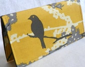 Sparrows in Vintage Yellow Handmade Vegan checkbook cover / wallet  Aviary 2