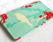 Sparrows in Aqua Handmade Vegan checkbook cover / wallet  Aviary 2