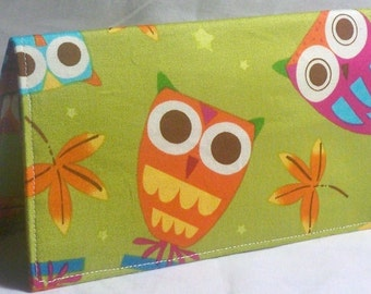On a Whim owl in pistachio - Vegan checkbook cover - wallet -coupon holder