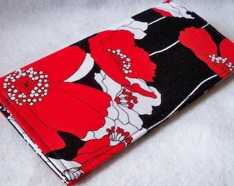 Poppy Lane - Poppies  Handmade checkbook cover - wallet or coupon holder