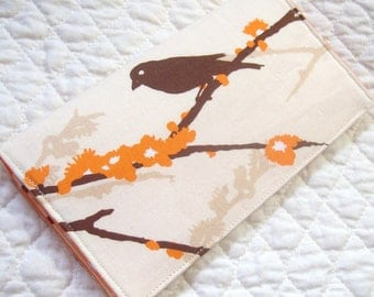 Sparrows in bark - Vegan checkbook cover /wallet