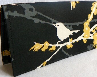 Sparrows in Cavern Handmade Vegan checkbook cover / wallet  Aviary 2