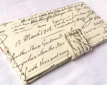 Handmade vegan Long Wallet  BiFold Clutch-Antiquity Old Script or half size unisex wallet