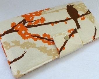Handmade Long Wallet  BiFold Clutch - Vegan Wallet Large - Sparrows in almond or half size unisex wallet