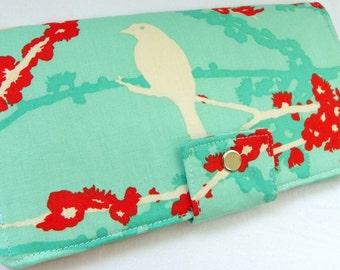 Handmade Long Wallet  BiFold Clutch - Vegan Wallet - Sparrows in Aqua or half size unisex wallet