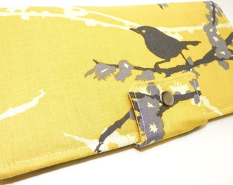 Handmade Long Wallet  BiFold Clutch - Vegan Wallet - Sparrows in yellow