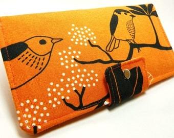 Handmade Long Wallet  BiFold Clutch- Vegan Wallet - Orange GUNILLA ikea fabric or half size unisex wallet