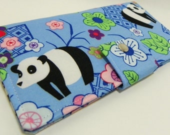 Japaneses pandas in blue - Handmade Long Wallet  BiFold Clutch or half size unisex wallet