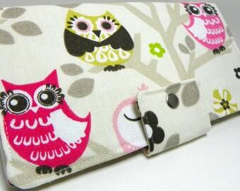 Owls  Sit'n A Tree Handmade Long vegan Wallet  BiFold Clutch or half size unisex wallet