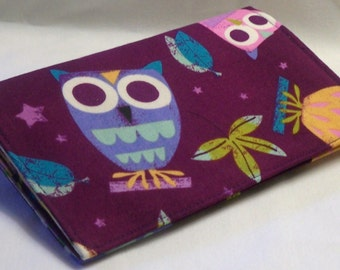 Robert Kaufman's On a Whim owl fabric checkbook cover or wallet