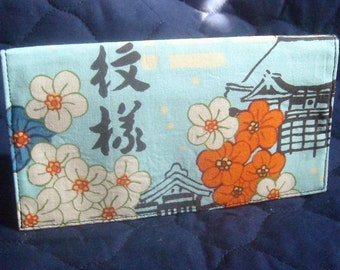 Koto in blue by Alexander Henry checkbook cover \ wallet