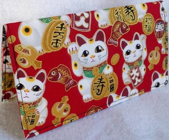 large maneki neko lucky cat in red  Handmade checkbook / wallet
