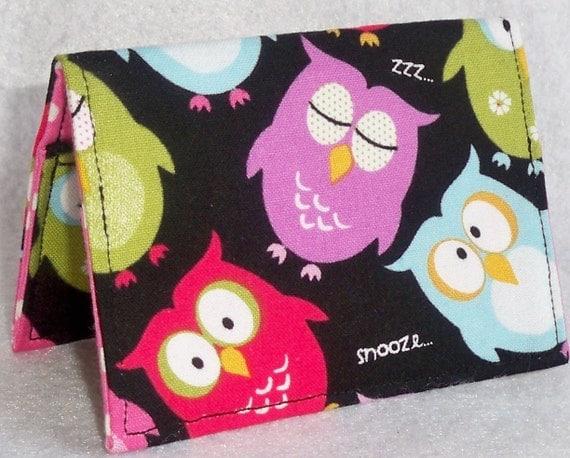 Sleepy Owl on black Handmade mini wallet - card holder