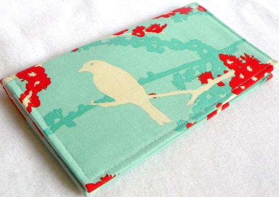 Sparrows in Aqua Handmade Vegan checkbook cover / wallet  Aviary 2