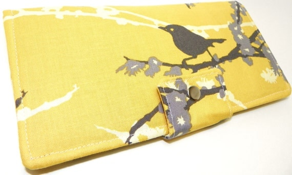 Handmade Long Wallet  BiFold Clutch - Vegan Wallet - Sparrows in yellow